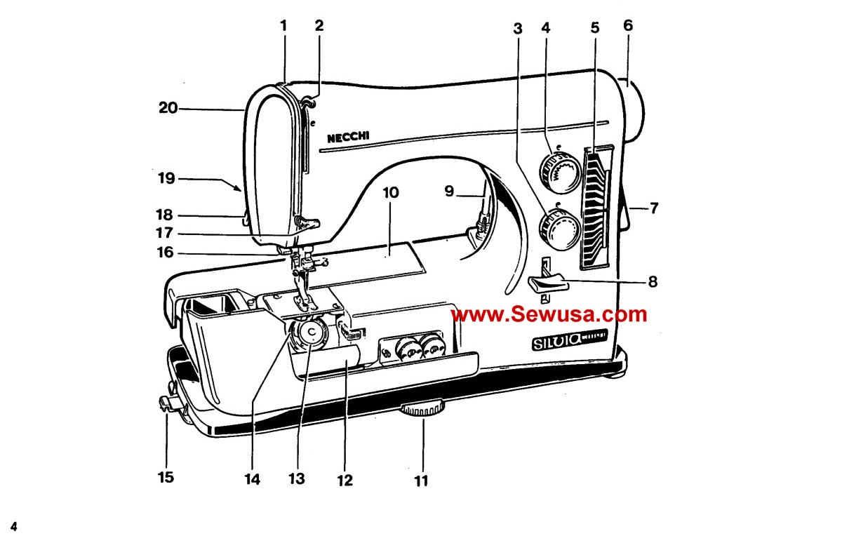 Necchi Sewing Machine Instruction And Service Manuals Bu Threading Diagram Wpe75 69399 Bytes